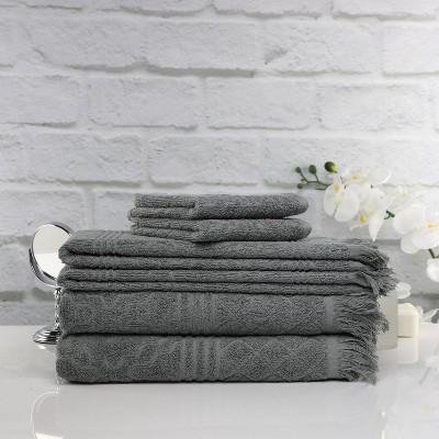 6pk Tangier Bath Towel Bundle Gray - Peach & Oak