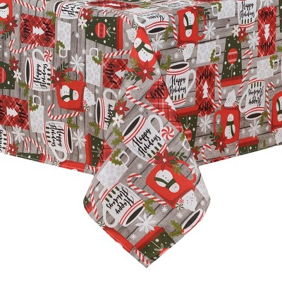 Jolly Holiday Cocoa and Candy Cane Christmas Fabric Tablecloth