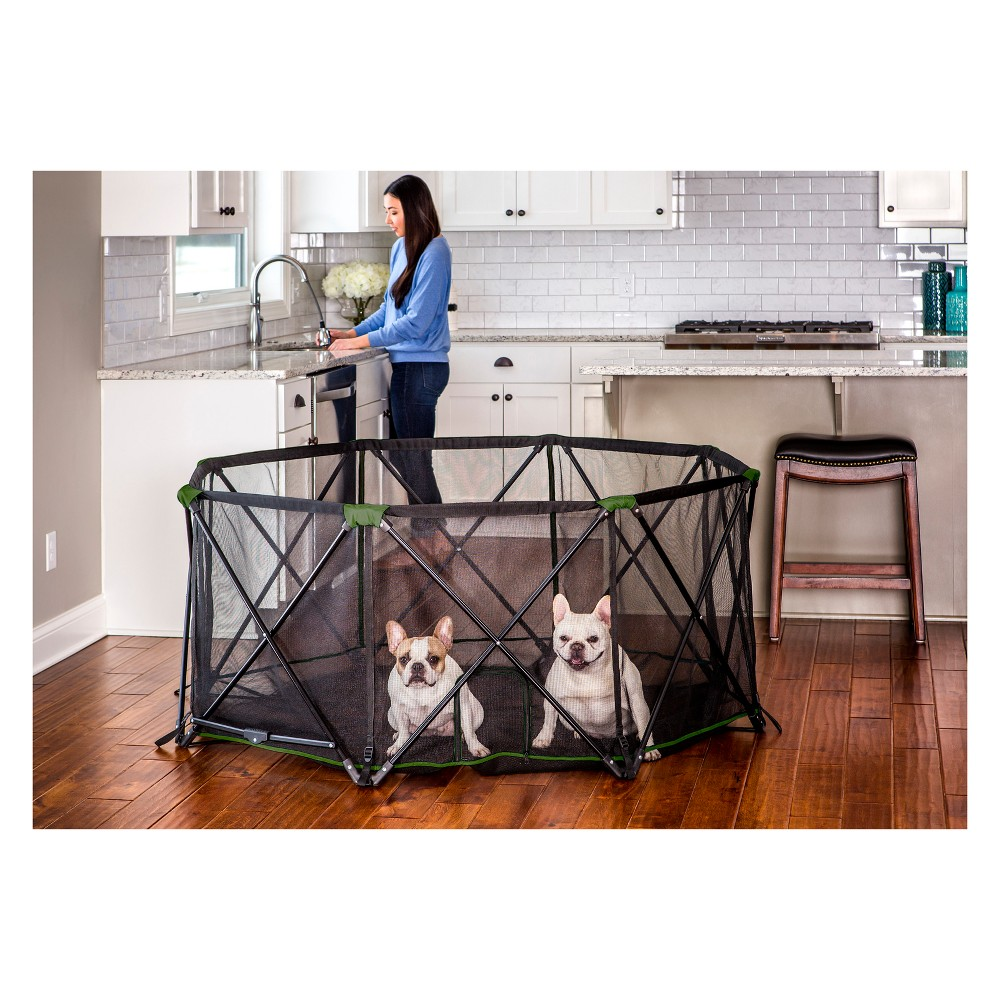 Carlson Green Eight Panel Portable Cat and Dog Pen, Black