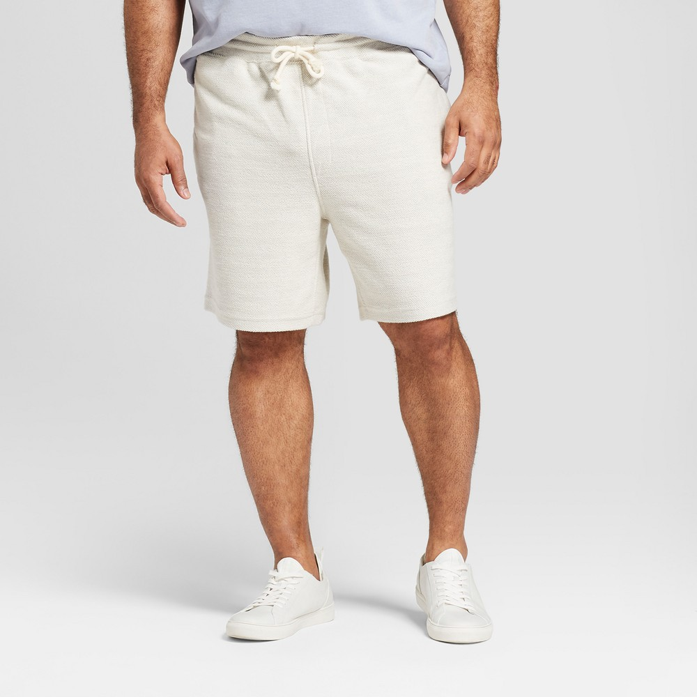 Men's Big & Tall 8.5 Textured Knit Lounge Shorts - Goodfellow & Co Cream 5XB, White