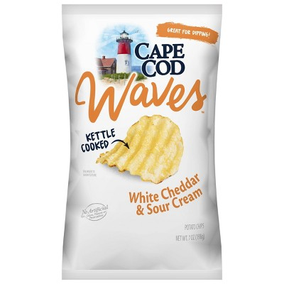 Cape Cod Waves Kettle Cooked White Cheddar & Sour Cream Potato Chips - 7.5oz