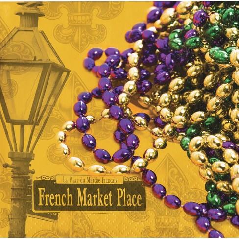 16ct Masks Of Mardi Gras Disposable Napkins Gold - image 1 of 2