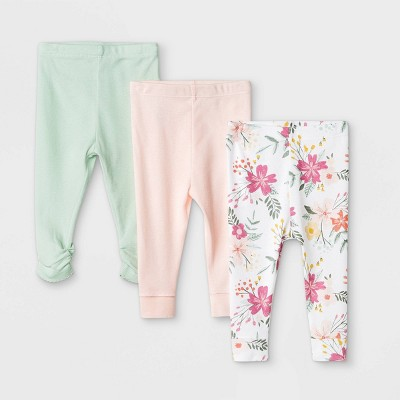 Baby Girls' 3pk Meadow Pull-On Pants - Cloud Island™ White 6-9M