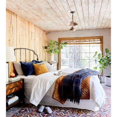 Orange & Navy Fall Bedding Collection style by Emily Henderson