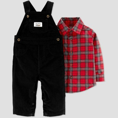 Baby Boys' 2pc Plaid Overall Set - Just One You® made by carter's Red/Black 6M