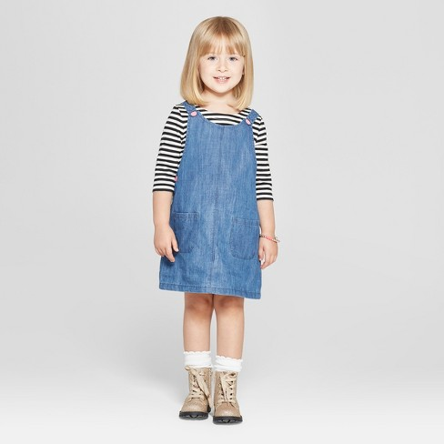 Toddler Girls' 2pc Long Sleeve T-Shirt and Overall Set - Cat & Jack™ White Striped/Blue Denim - image 1 of 3