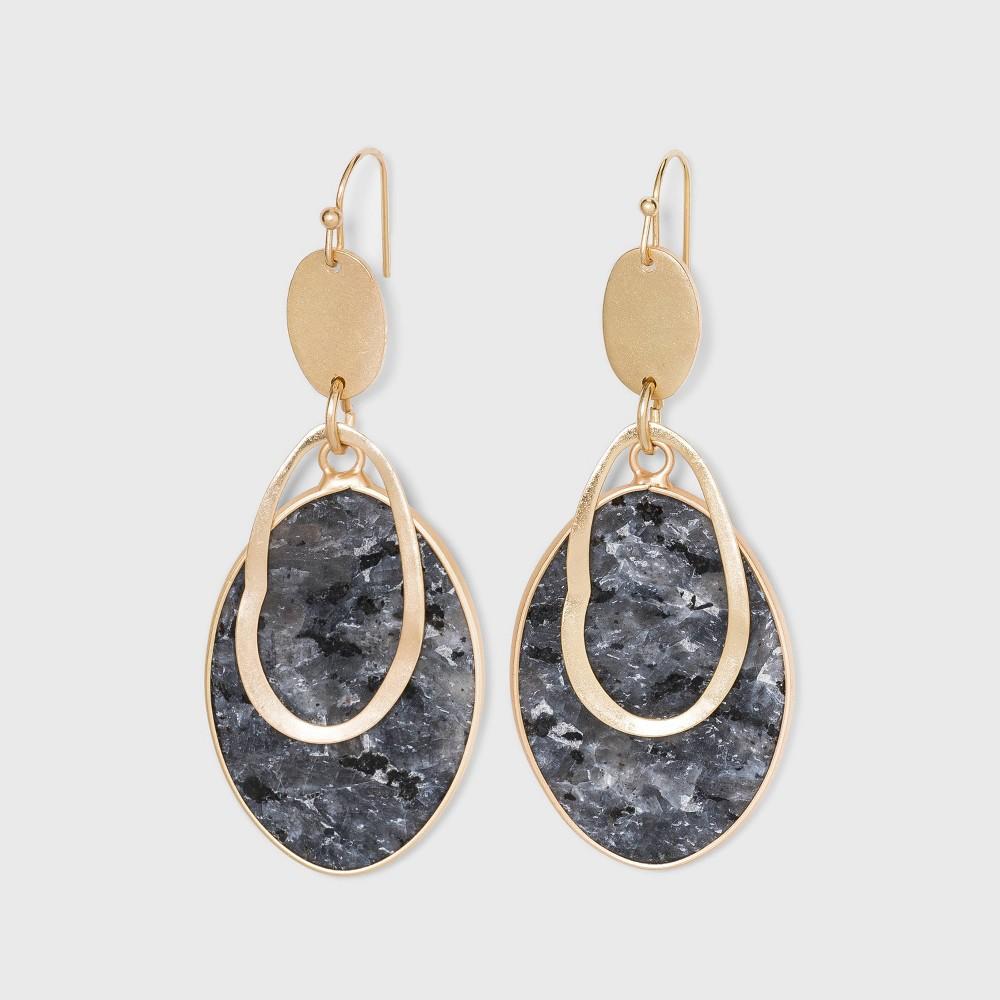 Semi Precious Labradorite With Wavy Gold Cutout Drop Earrings Universal Thread 8482 Black