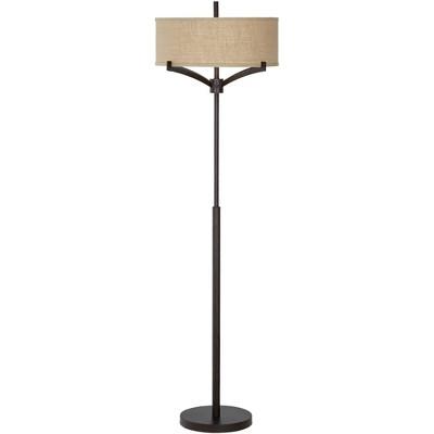 Franklin Iron Works Mid Century Modern Floor Lamp Deep Bronze Tan Burlap Drum Shade for Living Room Reading Bedroom Office