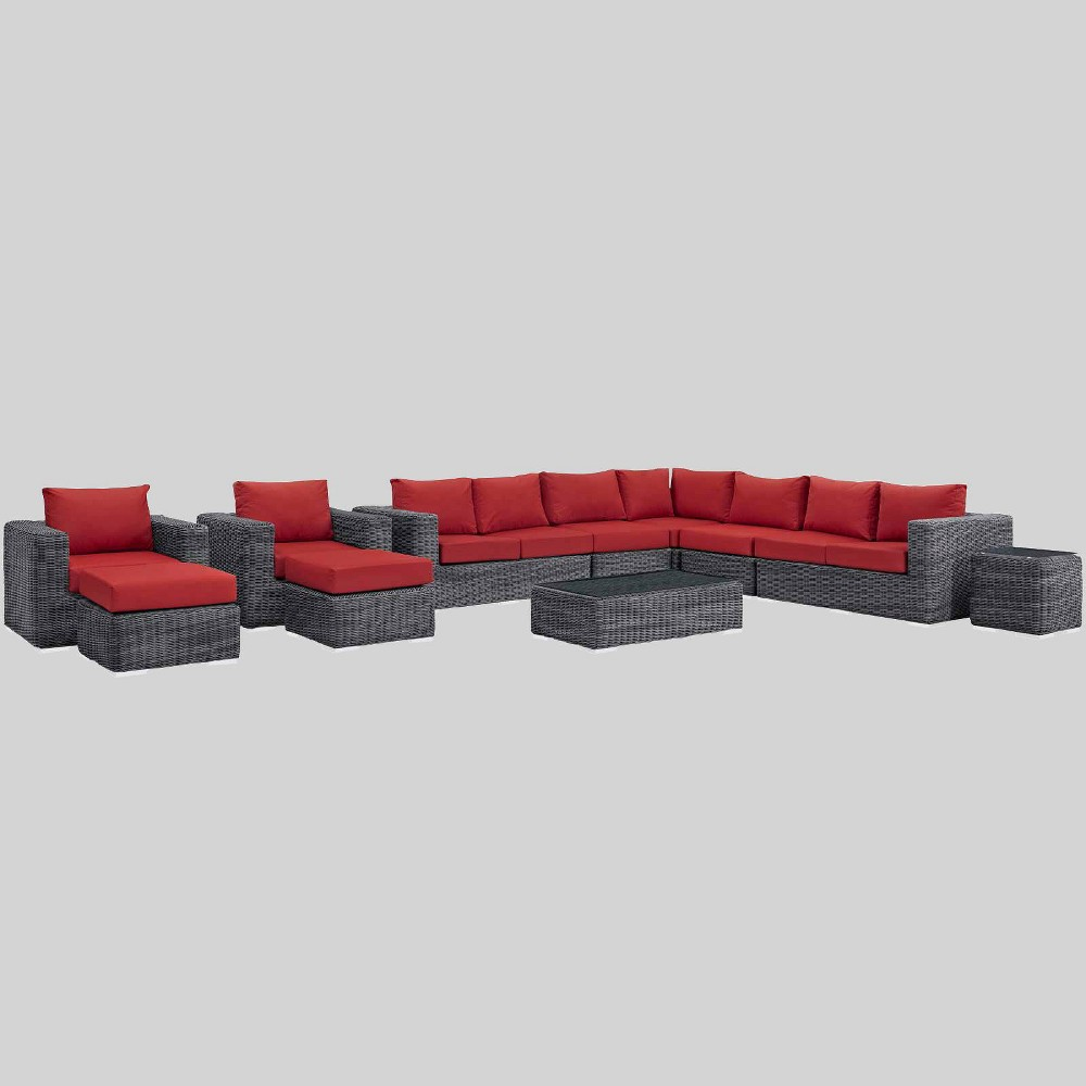 Summon 11pc Outdoor Patio Sectional Set with Sunbrella Fabric - Red - Modway