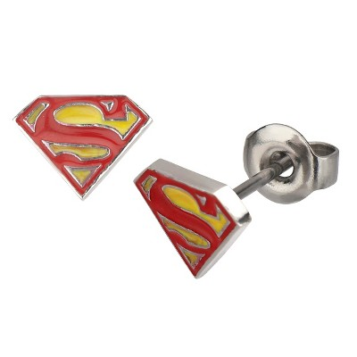 DC Comics Superman Logo Stainless Steel and Epoxy Stud Earrings - Red/Yellow