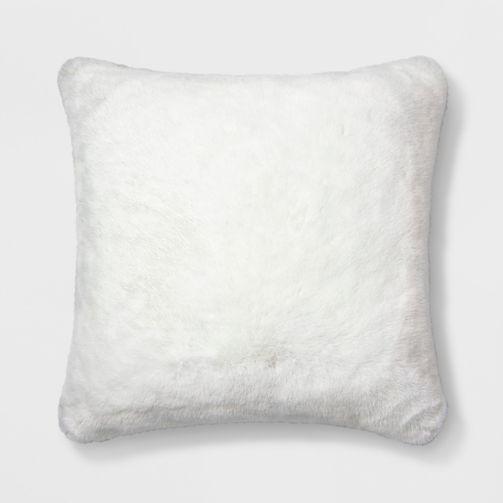 Decorative Faux Fur Throw Pillow White - Simply Shabby Chic