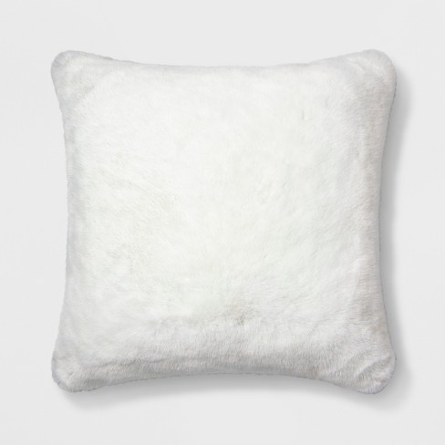 Decorative Faux Fur Throw Pillow White - Simply Shabby Chic® - image 1 of 2