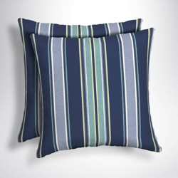 2pk Square Aurora Stripe Outdoor Throw Pillows Sapphire - Arden Selections
