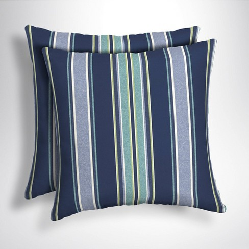 2pk Square Aurora Stripe Outdoor Throw Pillows Sapphire Arden
