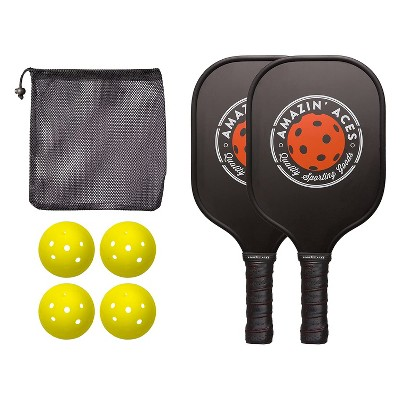 Amazin Aces Classic Pickleball Set with 2 Graphite Face Paddles, 4 Balls, and Carry Bag, Black