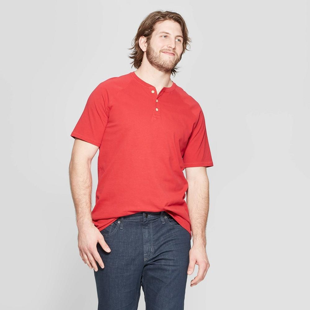 Men's Big & Tall Regular Fit Short Sleeve Henley Shirt - Goodfellow & Co Ripe Red 2XBT