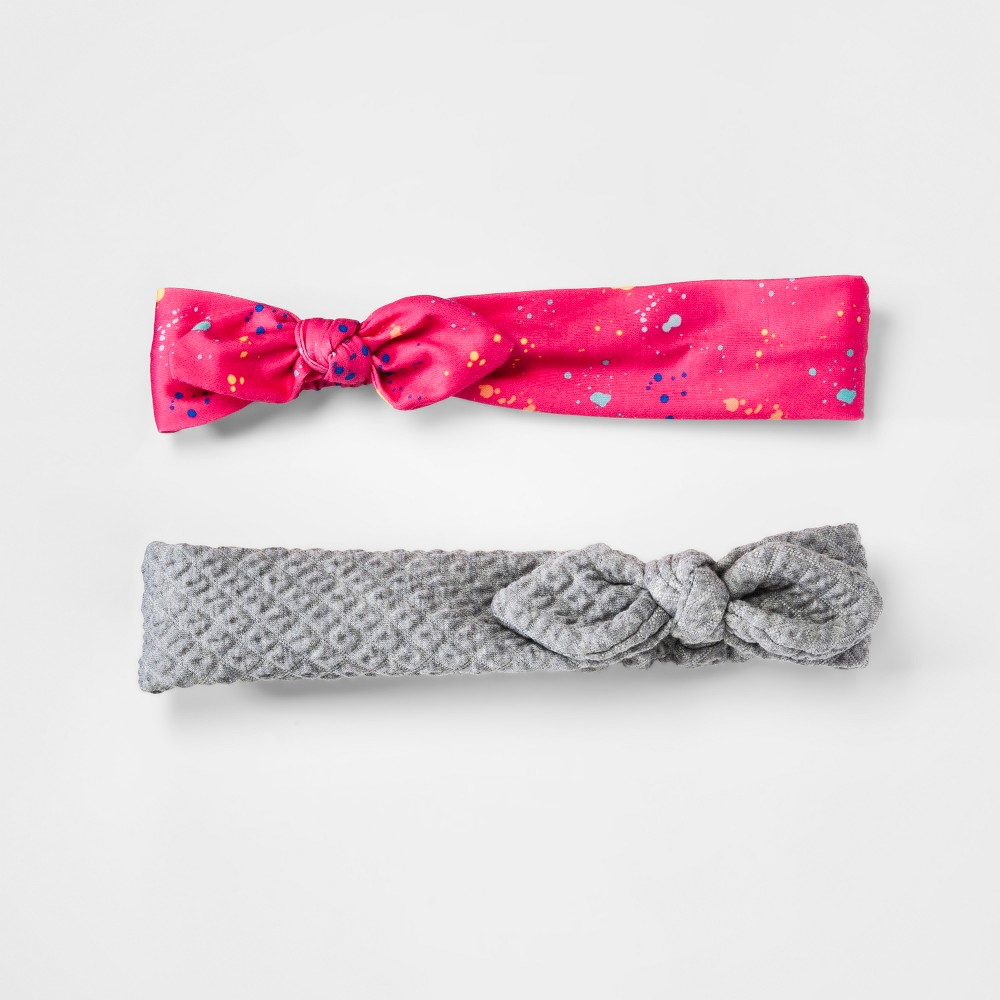 Girls' 2pk Print, Quilt Headwraps - Cat & Jack Pink/Gray, Multi-Colored