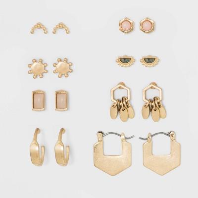 Semiprecious Howlite Stone and Geo Shape Multi Earring Set 8ct - Universal Thread™ Gold