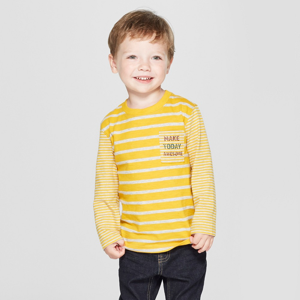 Toddler Boys' Make Today Awesome on Pocket Long Sleeve Stripe T - Shirt - Cat & Jack Yellow/Gray 3T