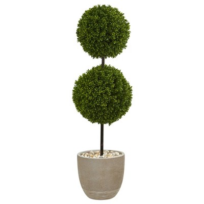 4ft Boxwood Double Ball Topiary Artificial Tree In Oval Planter - Nearly Natural