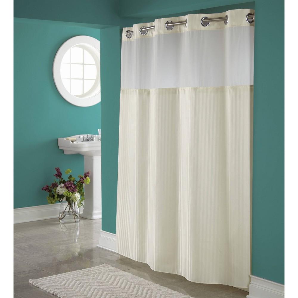 Herringbone Shower Curtain With Liner Beige Hookless
