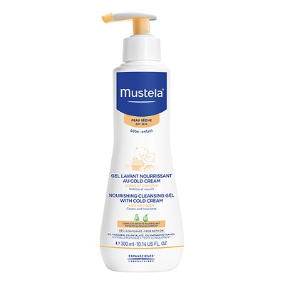 Mustela Nourishing Cleansing Gel with Cold Cream, Baby Body Wash and Baby Shampoo - 10.14oz