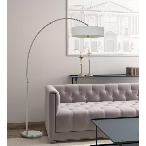 Chardon Led Adjule Metal Arc Floor Lamp Brushed Steel Includes Energy Efficient Light Bulb Cal Lighting