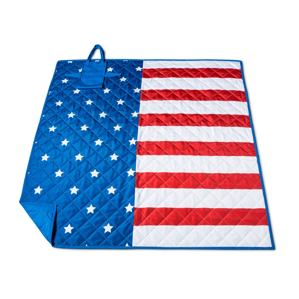 Red And Blue American Flag Picnic Blanket, White