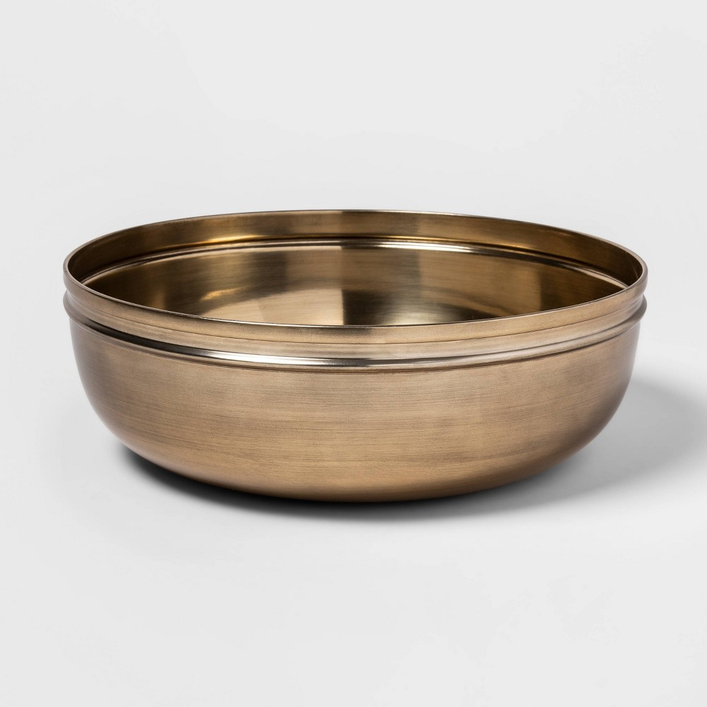 "Image of ""12"""" x 4"""" Round Brass Bowl Gold - Threshold"""