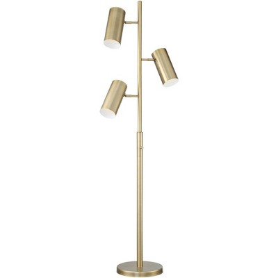 Possini Euro Design Modern Floor Lamp 3 Light Tree Satin Brass Adjustable Shade for Living Room Reading Bedroom Office