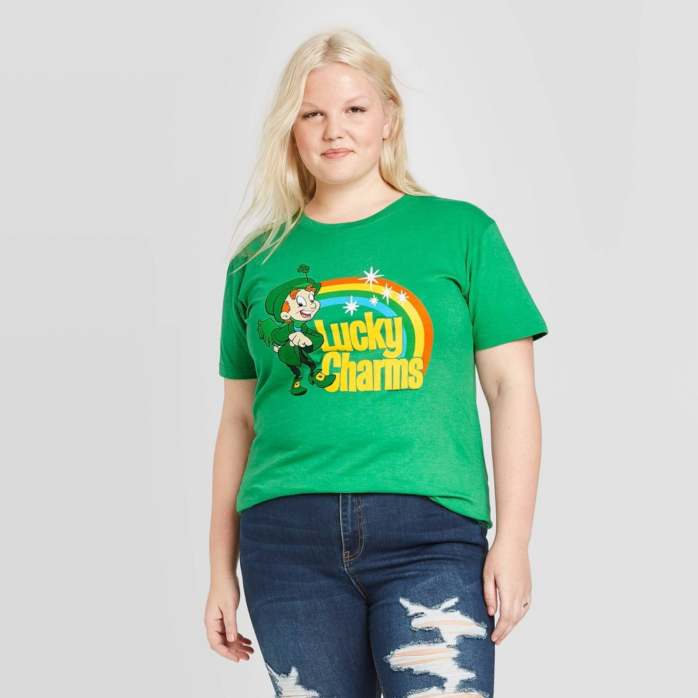 Image of Women's General Mills Plus Size Lucky Charm Short Sleeve Graphic T-Shirt (Juniors') - Green 1X, Women's, Size: 1XL