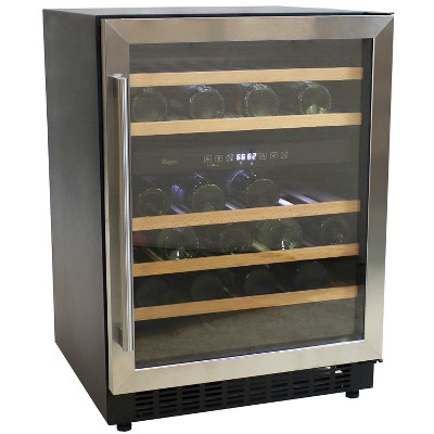 Sunnydaze Indoor Stainless Steel Beverage and Wine Dual Zone Refrigerator with Sliding Shelves and Touchpad Temperature Control - 46 Bottle Capacity