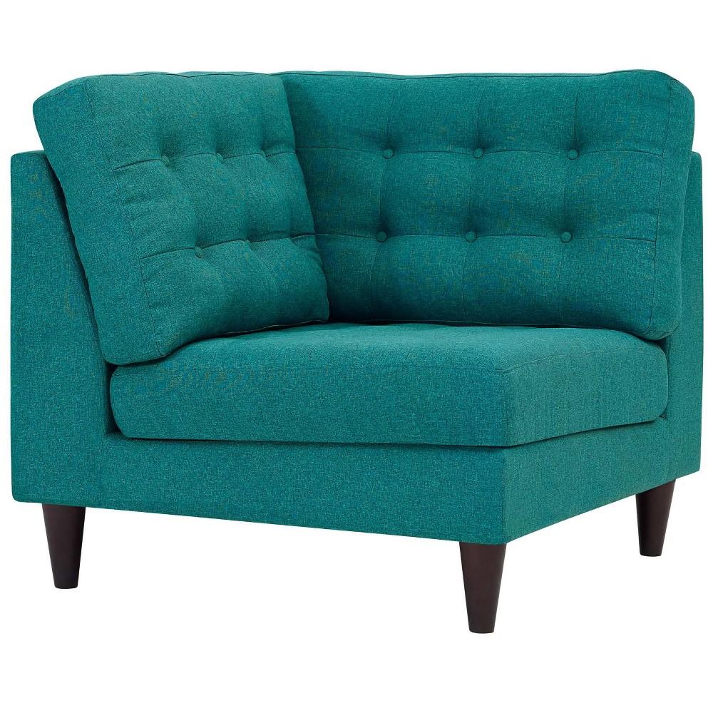 Empress Upholstered Fabric Corner Sofa Teal (Blue) - Modway