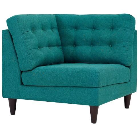 Empress Upholstered Fabric Corner Sofa Teal Modway