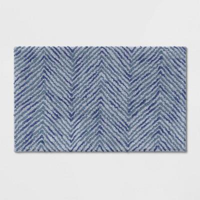Herringbone Tufted Bath Rug Blue/Gray - Threshold™