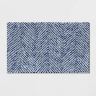 Herringbone Tufted Bath Rug Blue/Gray - Threshold™