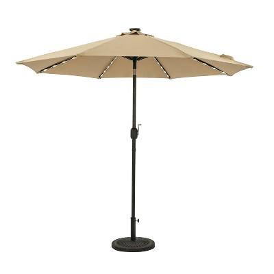 9' Mirage II Fiesta Market Patio Umbrella with Solar LED Tube Lights Champagne - Island Umbrella