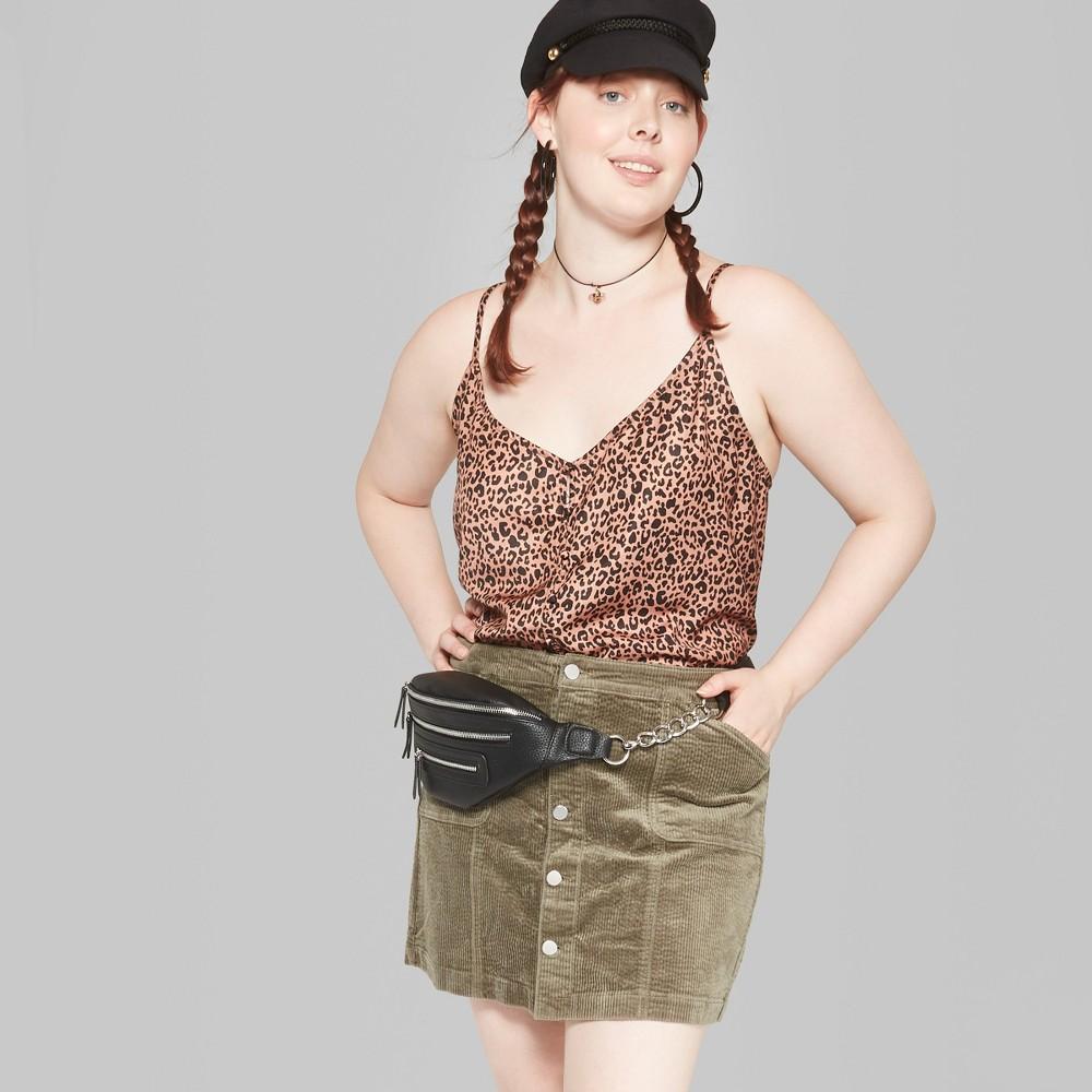 Women's Plus Size Corduroy Mini Skirt - Wild Fable Olive 14W, Green