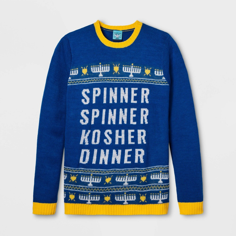 Image of Spinner Spinner Kosher Dinner Sweater - Blue XS, Adult Unisex