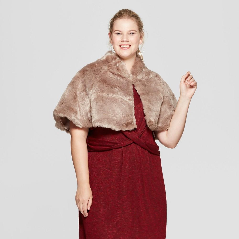 1920s Style Shawls, Wraps, Scarves Womens Plus Size Faux Fur Capelette - Estee  Lilly Natural $20.99 AT vintagedancer.com