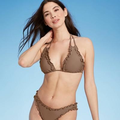 Women's Ruffle Triangle Bikini Top - Shade & Shore™ Hot Chocolate Brown