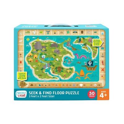 Chuckle & Roar Seek & Find Treasure Map Jigsaw Floor Puzzle