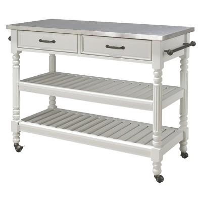 Savannah Kitchen Cart Wood/White - Home Styles
