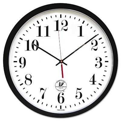 "Chicago Lighthouse Atomic Slimline Contemporary Clock 16-1/2"" Black 67403302"