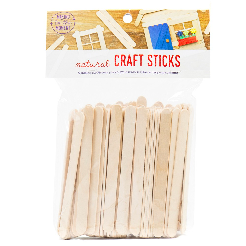 150ct Natural Craft Sticks - Making in the Moment, Neutral