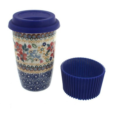 Blue Rose Polish Pottery Red Daisy Travel Coffee Mug