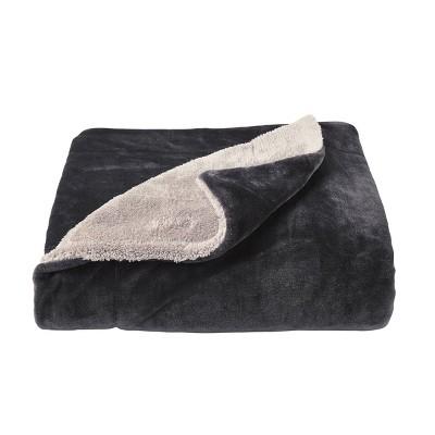 Oversized Polyester Fleece Sherpa Throw Blanket Dark Gray - Yorkshire Home