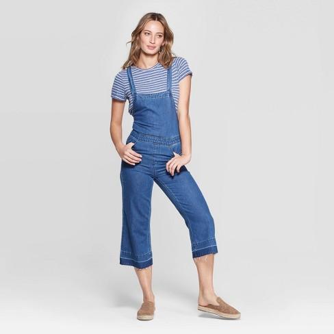 Women's Sleeveless Apron Back Cropped Overalls - Universal Thread™ Medium Blue - image 1 of 6