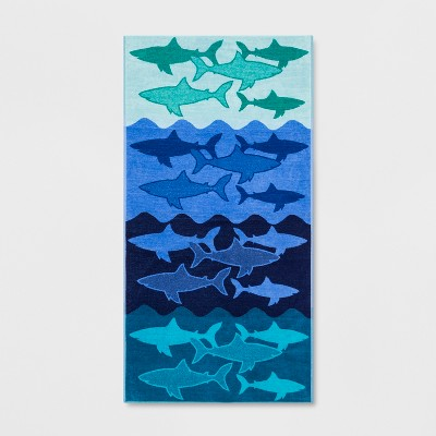 XL Sharks Beach Towel Ombre Blue - Sun Squad™
