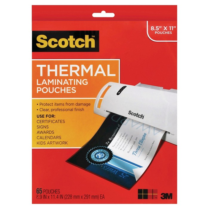 """Scotch® Thermal Laminating Pouches, 9"""" x 11"""", 65ct - Clear - image 1 of 3"""